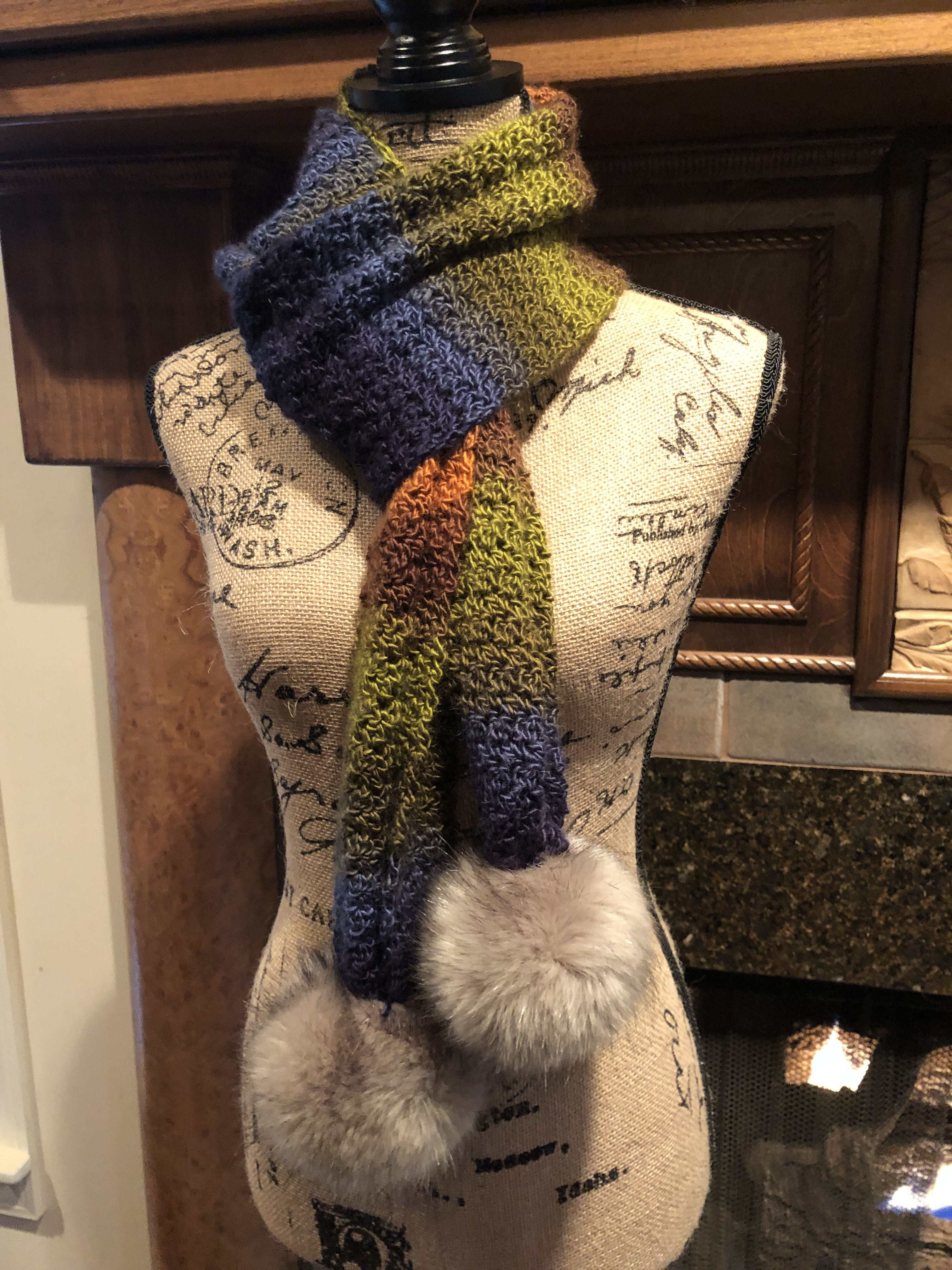 griddle stitch scarf with pom poms