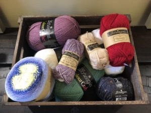scheepjes yarn in a crate